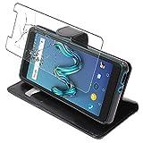ebestStar - Coque Compatible avec Wiko Tommy 3 Etui PU Cuir Housse Portefeuille Porte-Cartes Support Stand, Noir + Film Protection écran Verre Trempé [Appareil: 149 x 71.8 x 9.3mm, 5.0'']