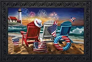 """Briarwood Lane Beachfront Fireworks Summer Doormat Patriotic Indoor Outdoor 18"""" x 30"""""""