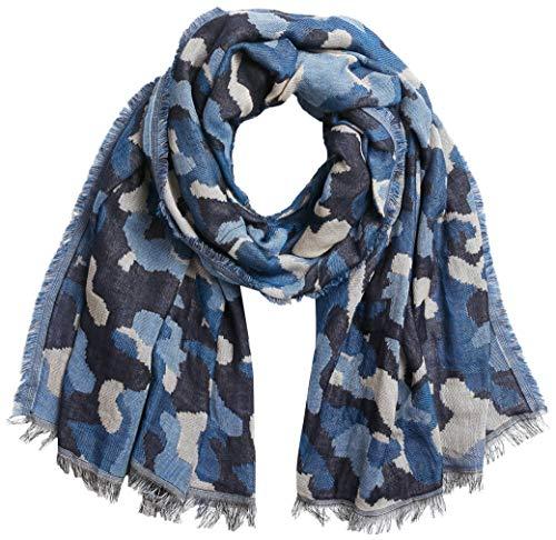 APART Fashion Damski szal zimowy Camouflage Shawl, dżinsowy niebieski, jeden rozmiar