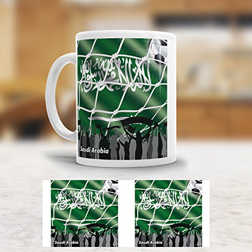 ADDIES Tasse WM Saudi Arabien / Saudi Arabia - Schöner bedruckter Kaffee-Becher mit der Flagge Saudi Arabiens. Hochwertig verarbeitet