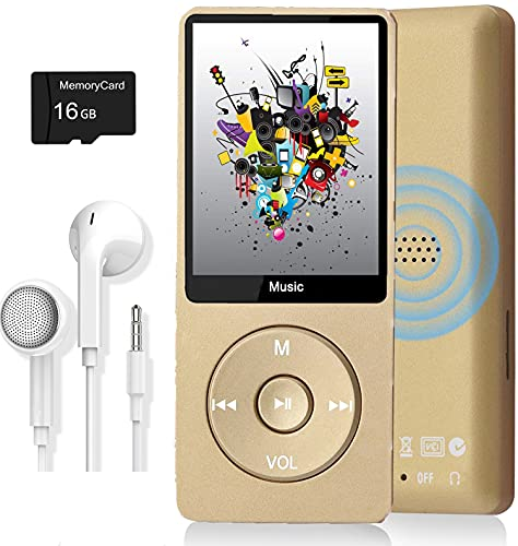 MP3 Player, Music Player with 16GB Micro SD Card, Build-in Speaker/Photo/Video Play/FM Radio/Voice Recorder/E-Book Reader, Supports up to 128GB