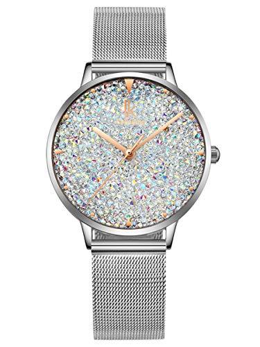 Alienwork Damen-Armbanduhr Quarz Silber mit Metall Mesh Armband Edelstahl Weiss Strass-Steinen Glitzer elegant
