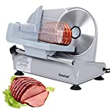 SUPER DEAL Premium Stainless Steel Electric Meat Slicer 7.5' inch Blade Home Kitchen Deli Meat Food Vegetable Cheese Cutter - Thickness Adjustable - Spacious Sliding Carriage - Easy to clean