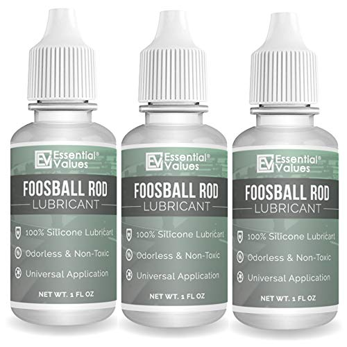 Essential Values 3-Pack Foosball Rod Lubricant - Authentic Foosball Silicone for Foosball Table Rods - 100% Silicone Lube with Applicator Tip - Clean and Easy to Use Foosball Table Accessories