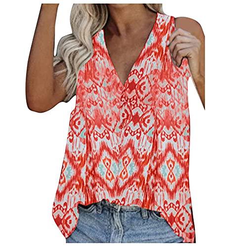 N\\P Lässiges ärmelloses Shirt für Damen, Übergröße, Sommer, kurzärmelig Gr. XXL, rot
