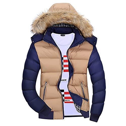 CIDCIJN Daunenjacke Für Herren,Mode Lose Hut Und Passende Mode Baumwolle Gepolsterte Jacke Für Herren Neue Winter Verdickten Mantel, Apricot, 3XL