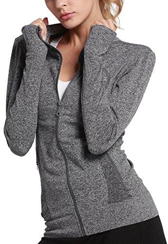 HIYAGON Women Running Yoga Zip up Stretchy Jacket Sweatshirts with Thumb Holes (M, Grey-A)