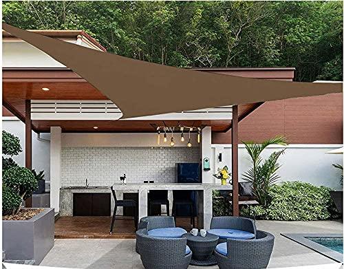 QDY -Vela De Sombra para El Sol Al Aire Libre, 98% Vela De Jardín con Bloque UV, Toldo De Tela Triangular De 160 G / M2 con Kit De Fijación para Fiestas En El Patio,5 Brown,3x4x5m