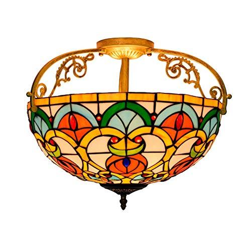 GUOGEGE Tiffany plafondlamp, handgemaakte gekleurd glas perzik hart kralen stijl plafond lamp Decor woonkamer slaapkamer balkon hal XT107