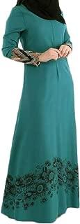 Women's Muslim Gown Long Sleeve Elegant Floral Print Malaysia Maxi Dress