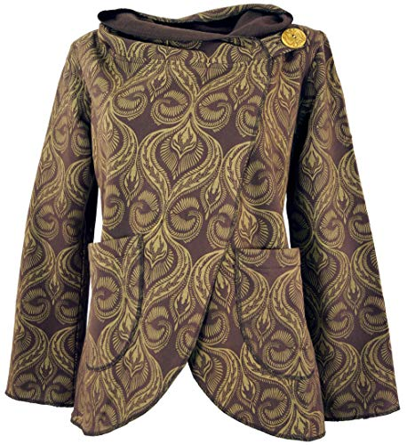 GURU SHOP Cape Wickeljacke, Damen, Caramel, Baumwolle, Size:L (40), Boho Jacken, Westen Alternative Bekleidung