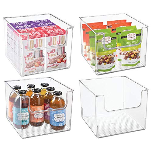 mDesign 4er-Set Aufbewahrungsbox für Lebensmittel - Küchen Ablage mit offener Vorderseite für Kühlschrank, Schrankfach oder Gefriertruhe - Kühlschrankbox aus BPA-freiem Kunststoff - durchsichtig