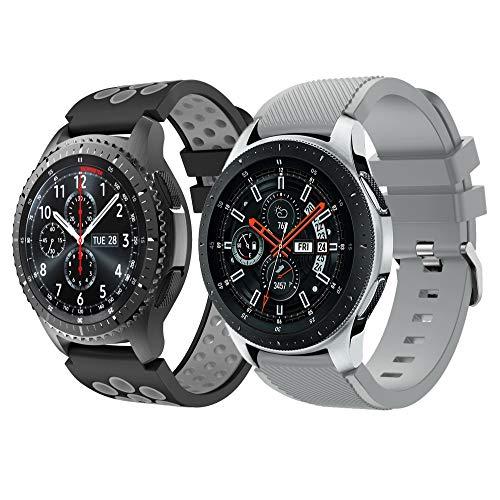 Syxinn Compatible con Correa de Reloj Gear S3 Frontier/Classic/Galaxy Watch 46mm Reemplazo de Banda de Silicona Suave Deportiva Pulsera de Repuesto para Gear S3/Moto 360 2nd Gen 46mm (C2, 2 Paquete)