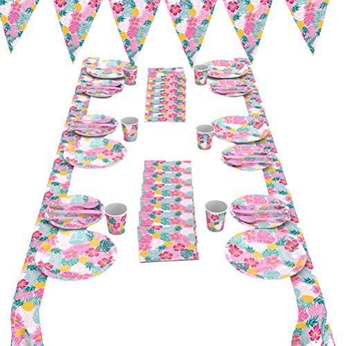 ABOOFAN 1 juego/24 piezas de vajilla desechable plato de papel taza toalla mantel colgante banderín vajilla accesorios de papel para verano Hawaii temático fiesta suministros favor