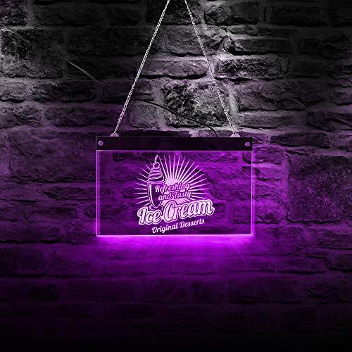 Postres refrescantes y sabrosos Barra de helado Luz de neón LED Logotipo comercial original Heladería Iluminación Tablero publicitario-40x30cm