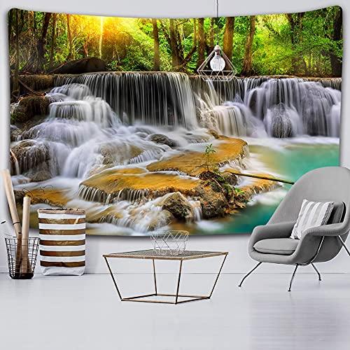 KHKJ Toalla de Playa 3D Paisaje de Cascada Hermoso Flujo de Bosque impresión Manta de Pared Estera de Yoga Tapiz de decoración del hogar A11 200x150cm