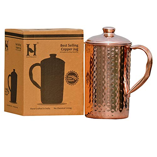 HealthGoodsIn - Pure Copper (99.74%) Hammered Water Jug   Copper Pitcher for Ayurveda Health Benefits (50.7 US Fluid Ounce)