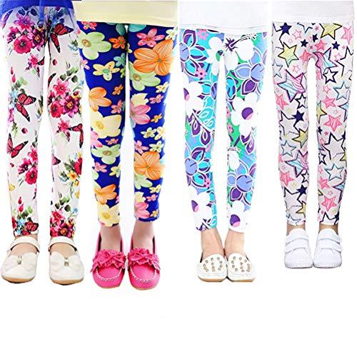 XM-Amigo 4er Pack Kinder Mädchen Hosen Blumenmuster Stretch Leggings (6-7 Jahre)