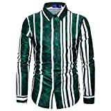 SHENSHI Camisas Hombres,Camisa De Manga Larga con Botones Camisa Cómoda Y Suave con Estampado De Rayas En Degradado Camisas Sociales De Negocios, Verde, Grande