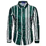WUGDSQGH Hombre Floral Camisa Manga Larga Camisa A Rayas para Hombres Vertical Social Streetwear Casual Delgado De Manga Larga Camisa Formal para Hombres Regalo Oficina Vacaciones, Verde, M