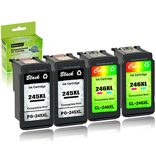 GREENCYCLE Re-Manufactured PG-245XL 245 XL CL-246XL CL-246 Ink Cartridge Compatible for Canon Pixma MX490 MX492 IP2820 MG2920 MG2922 MG2924 MG3020 MG3022 TS302 (Black, 2 Pack; Tri-Color, 2 Pack)