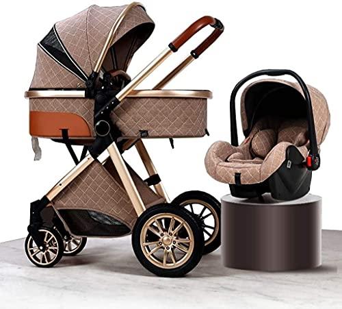 Chilequano Bassinet convertible 3-IN-1 con accesorios de cochecito, cochecito para bebés para niños pequeños, cochecito recién nacido de anti-shock plegable, carro de bebé con canasta grande y espacio