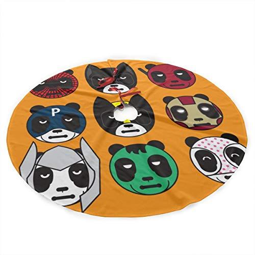 Hunter qiang Weihnachtsbaum-Rock-Gesichts-Panda mit Superheld-Masken-Vektor, Weihnachtsbaum-Rock EPS10 mit weißen Schneeflocken für Weihnachtsfeiertags-Dekoration 76cm S
