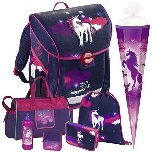 Unicorn Dream- Einhorn Pferd - Baggymax FABBY Leicht-Schulranzen Set 7tlg. Hama mit SCHULSPORTTASCHE, BRUSTBEUTEL, TRINKFLASCHE und SCHULTÜTE