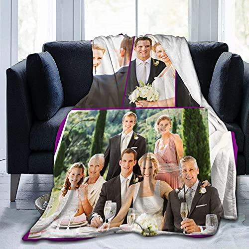Manta personalizada con texto de fotos personalizado manta para adultos niño madre padre, collage de fotos, 60 x 50 pulgadas