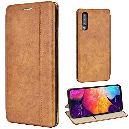 Leaum Leder Handyhülle für Samsung Galaxy A50 Hülle, Premium Handytasche Flip Schutzhülle für Samsung A50 Tasche (Braun)