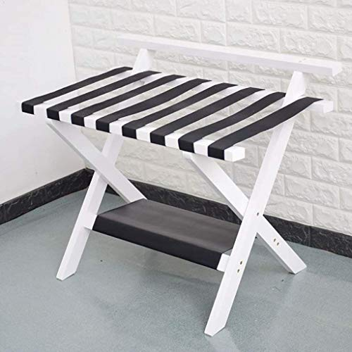 GDFEH Luggage Stand Folding Luggage Rack Solid Wood Folding 2 layer Luggage Racks Bedroom Hotel Suitcase Support, Luggage Storage Rack Luggage Stand For Bedroom (Color : B)