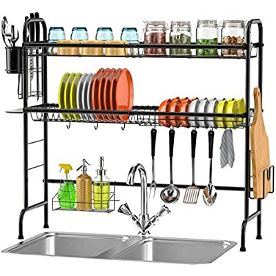 Over the Sink Dish Drying Rack, Veckle 2 Tier D...
