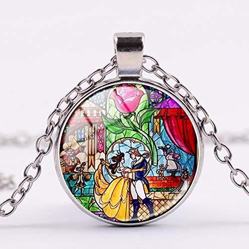 Collar con colgante de cabujón de cristal con diseño de dibujos animados de la Bella Princesa de la Bella y la Bestia