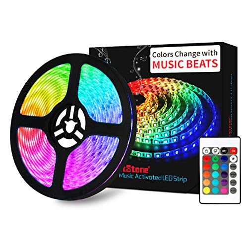 LED Strip Lights Music - DotStone RGB LED Light Strip Kit 16.4ft SMD 5050 Tape Lights, Color Changing Rope Lights with Remote for Bedroom Home Kitchen TV Party Desk Room