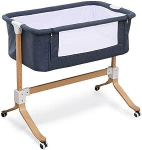 Tyui Baby Crib Plush Nursery Junior Bed Sleep Safety Easy Folding Portable Crib Grey