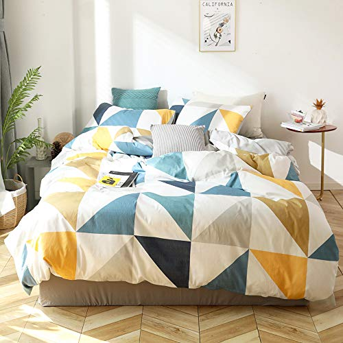 White Yellow Triangles Bedding Set Twin Blue Gray Children Boy Duvet Cover Cotton Geometric...