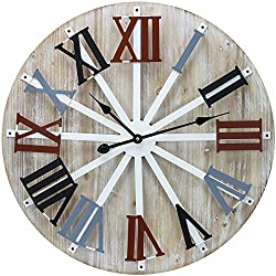 """Sorbus Large Decorative Wall Clock, 24"""" Round Oversized Centurian Roman Numeral Farmhouse Style Modern Home Decor Ideal for Living Room, Analog Wooden Metal Colorful Clock"""