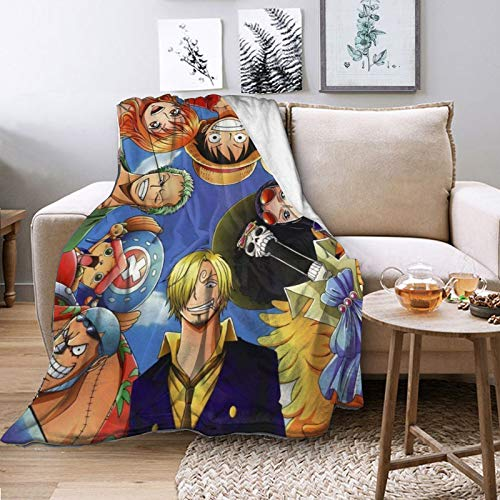 Anime One Piece Lu-ffy Zo-ro Blanket Fleece Flannel Throws Blankets Flannel Blankets Printed Cosplay Ultra-Soft Warm Cozy Plush Sofa Bedroom Living Room Office Travel Camping for Adults Kids
