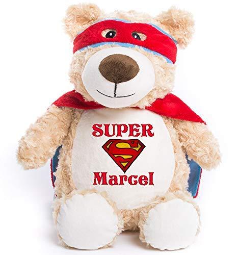 Peluche - ours SuperMan, personnaliser avec broderie, cadeau pour naissance, baptême, fêtes, Noël, brodé, personnalisé, doudou prénom