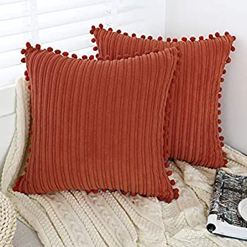 Oirpro Burnt Orange Pillow Covers 18x18 inch with Pom-poms Set of 2 Corduroy Farmhouse Boho Accent Decorative Throw Pillow Covers for Couch Bed Sofa