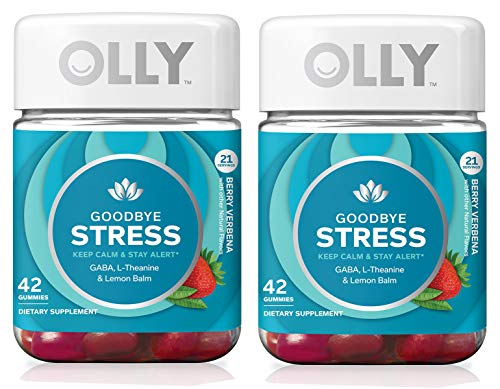 Olly YETWAUQX Goodbye Stress Gummy Supplement with GABA L-THEANINE & Lemon Balm, Berry Verbena,(21 Day Supply) (Packaging May Vary), 2 Pack of 42 Gummies