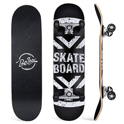 BELEEV Skateboard 31x8 inch Completo Cruiser Skateboard per Bambini, Giovani e Adulti, 7 Strati di Acero Canadese Double Kick Deck Concavo con all-in-One Skate T-Tool per Principiante (Nero)