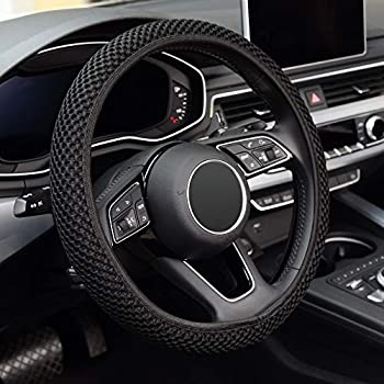 KAFEEK Elastic Stretch Steering Wheel Cover,Warm in Winter and Cool in Summer Universal 15 inch Microfiber Breathable Ice Silk Anti-Slip Odorless Easy Carry,Black