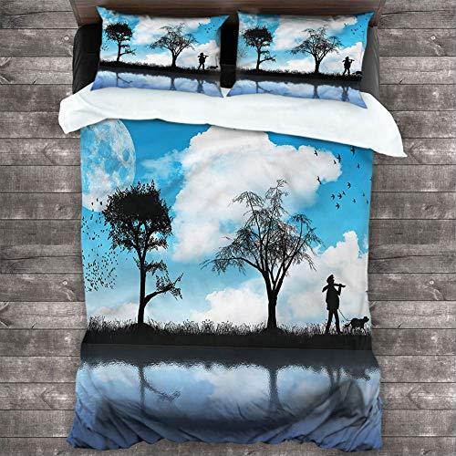 Bed Sheet Set Nature,Man Dog Lake Tree Moon Oversized 3-Piece Quilt Set (1 Duvet Cover + 2 Pillow Shams) All Season Style, King 104'x90'