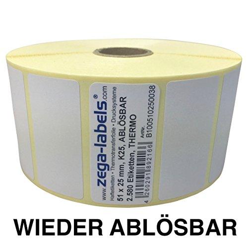 Thermo Etiketten auf Rolle - 51 x 25 mm - 2.580 Stück je Rolle - Kern: 25 mm - aussen gewickelt - WIEDER ABLÖSBAR - Druckverfahren: Thermodirekt (Drucken ohne Farbband)