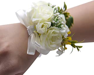 2 Pcs White Wedding Bride Wrist Corsage Bridesmaid Wrist Flower Artificial Rose Ribbon Bow Bracelet for Wedding Prom Party