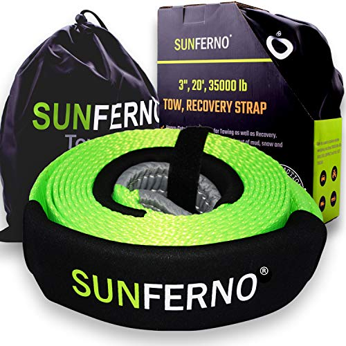 Sunferno Recovery Tow Strap 35000lb - Recover Your Vehicle Stuck in Mud/Snow - Heavy Duty 3' x 20' Winch Snatch Strap - Protective Loops, Water-Resistant - Off Road Truck Accessory - Bonus Storage Bag