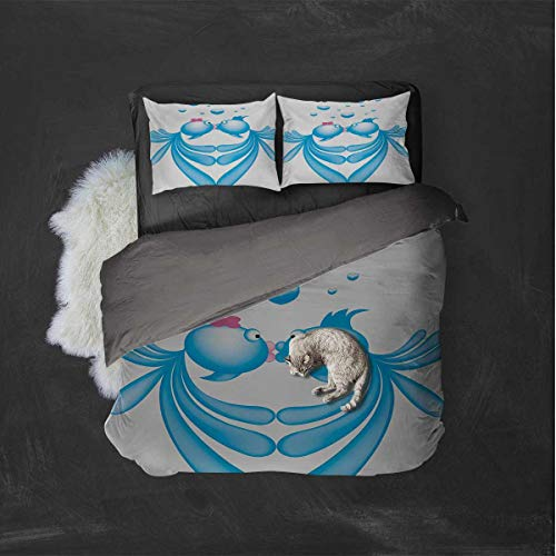 Kiss Hotel Luxury Bed Linen Abstract Blue Cartoon Fishes Kissing with Bubble Like Heart Shapes Romantic Polyester - Soft and Breathable (Queen) Pale Blue Pink White