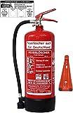 6 L Schaum Feuerlöscher Brandklasse AB DIN EN 3 + GS , Prüfnachweis mit Jahresmarke, Manometer, Wandhalter, Messingarmatur Sicherheitsventil, Standfuß, Schaumlöscher (Mit Prüfnachweis und Jahresmarke)