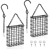 Boao 2 Pièces Mangeoire à Suif, Mangeoire à Oiseaux en Cage Mangeoire à Suif Suspendue Capacité de Gâteau de Suif Unique pour Oiseaux Sauvages, Mangeoire à Oiseaux de Jardin Extérieur